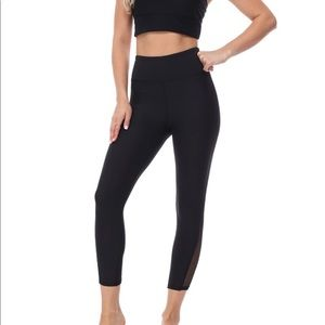 High Waisted Crop Yoga Pants with Mesh Insert